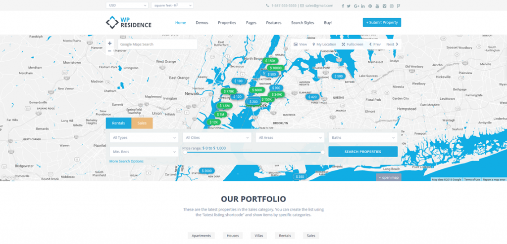 Real Estate homepage with header google maps