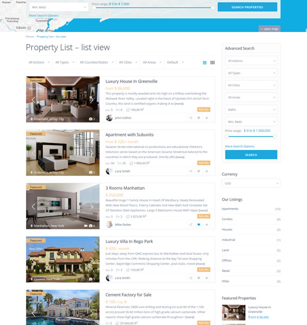 PROPERTY LIST WITH A SIDEBAR ON THE RIGHT