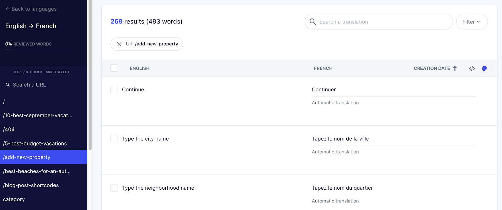 How to manage the WpRentals theme pages translation in Weglot