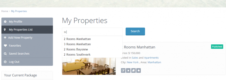 Search for properties submitted by user in My Properties - User Dashboard