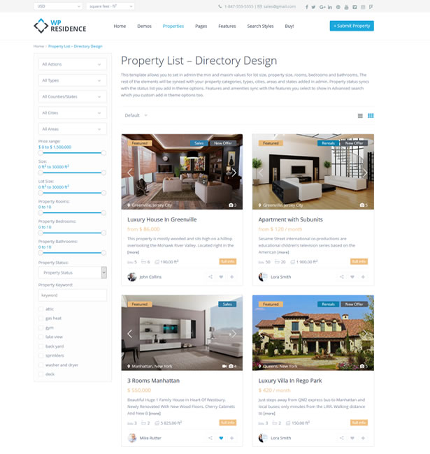 PROPERTY LIST – DIRECTORY DESIGN