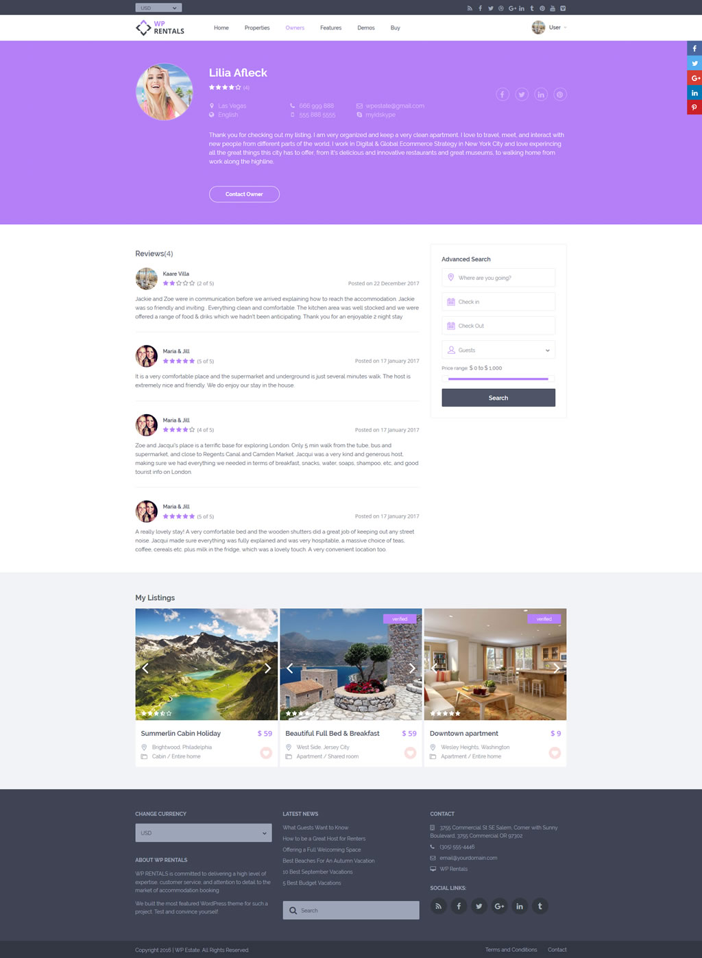Ownere Profile in Wp Rentals Theme