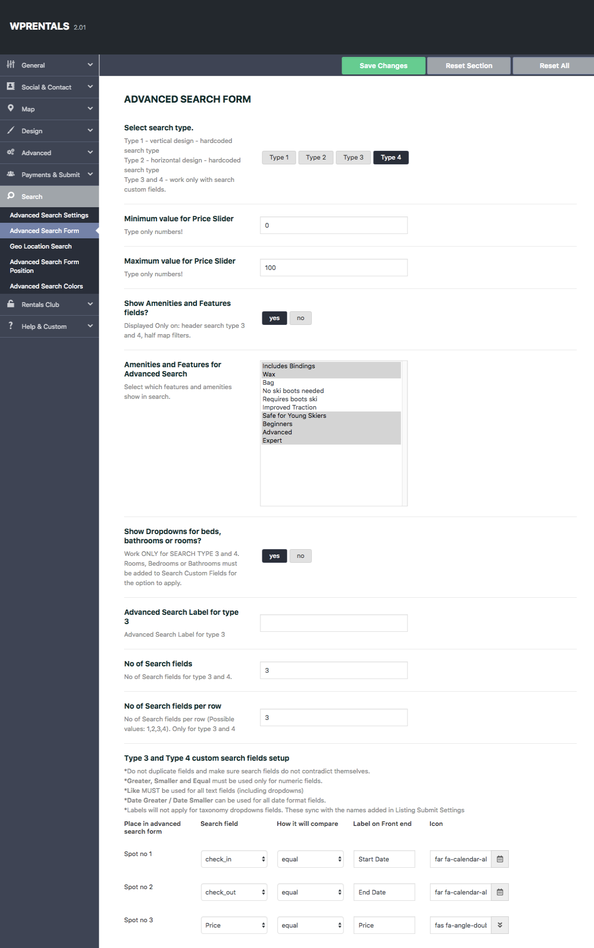Wp Rentals Custom Fields for Advanced Search Form