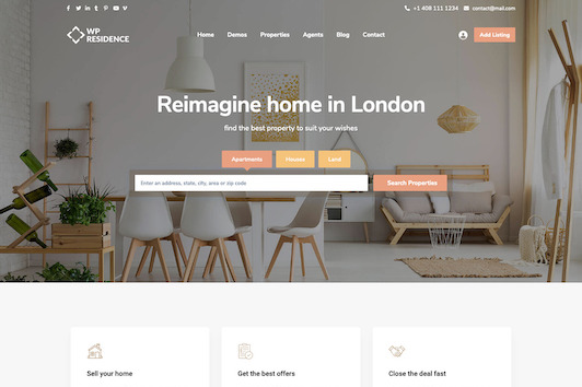 WpResidence WordPress Theme for Real Estate